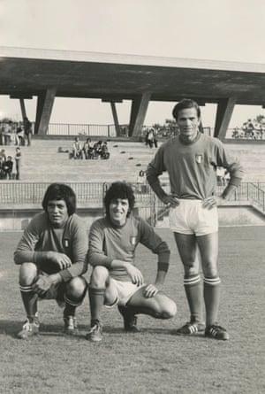 Actors Ninetto Davoli and Franco Citti with director Pier Paolo Pasolini in actors' football team, 1970s.