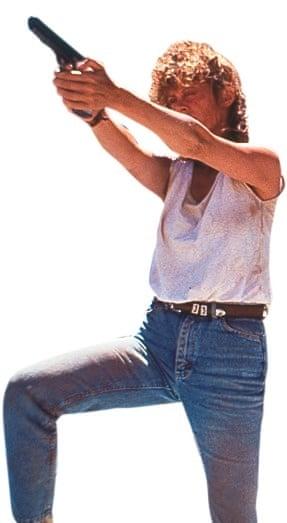 Susan Sarandon holding a gun in Thelma & Louise
