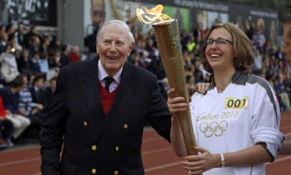 Under pressure: Nicola Byrom, founder of the mental health charity Student Minds, with Roger Bannister.