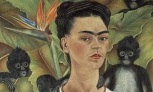 Frida Kahlo self-portrait with monkeys