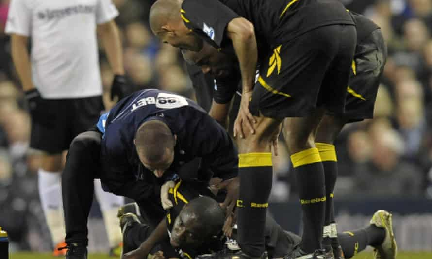 Fabrice Muamba on the pitch at White Hart Lane, 2012