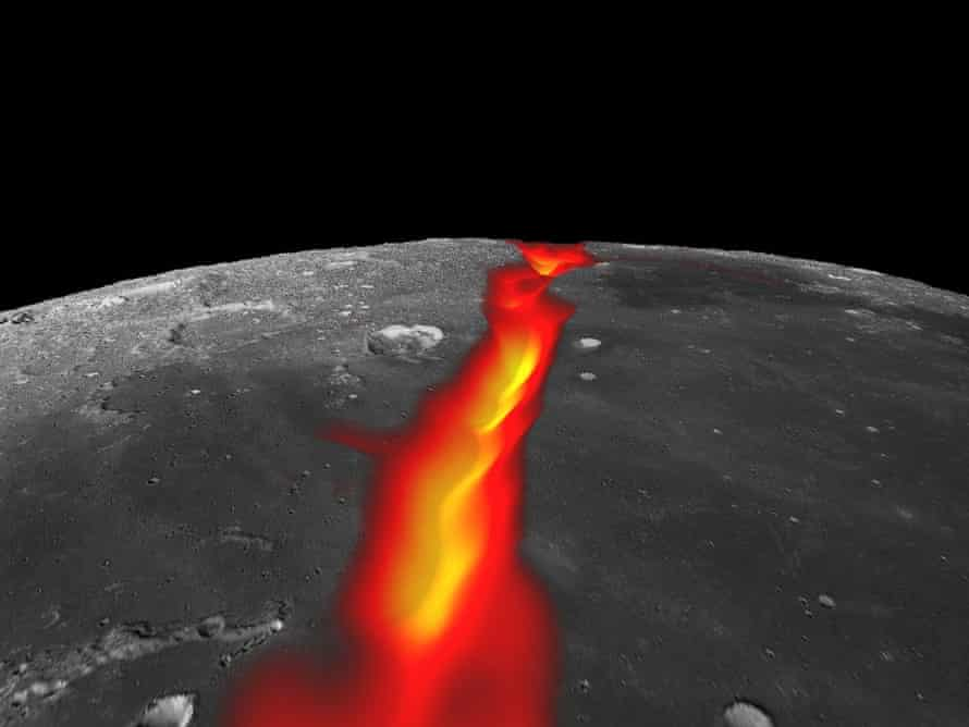 Artist's impression of a lava-filled rift valley on the moon