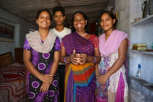 Umarwal with her three children in her house