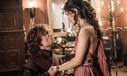 A hit with the birds …Peter Dinklage and Sibel Kekilli in Game of Thrones.