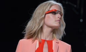 """A model displays new product """"Glass by Google"""" at the Diane von Furstenberg Spring/Summer 2013 collection show during New York Fashion Week September 9, 2012."""