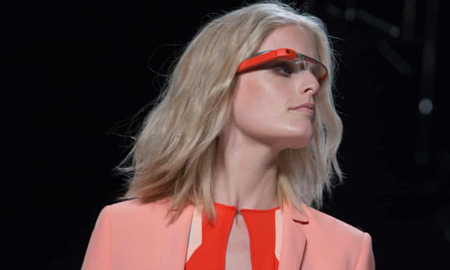 "A model displays new product ""Glass by Google"" at the Diane von Furstenberg Spring/Summer 2013 collection show during New York Fashion Week September 9, 2012."