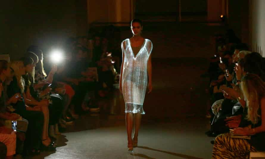 A model shows off Richard Nicoll's 'light dress' design at London Fashion Week.