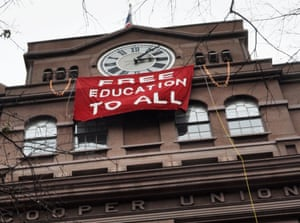 US Money Cooper Union education free protest banner