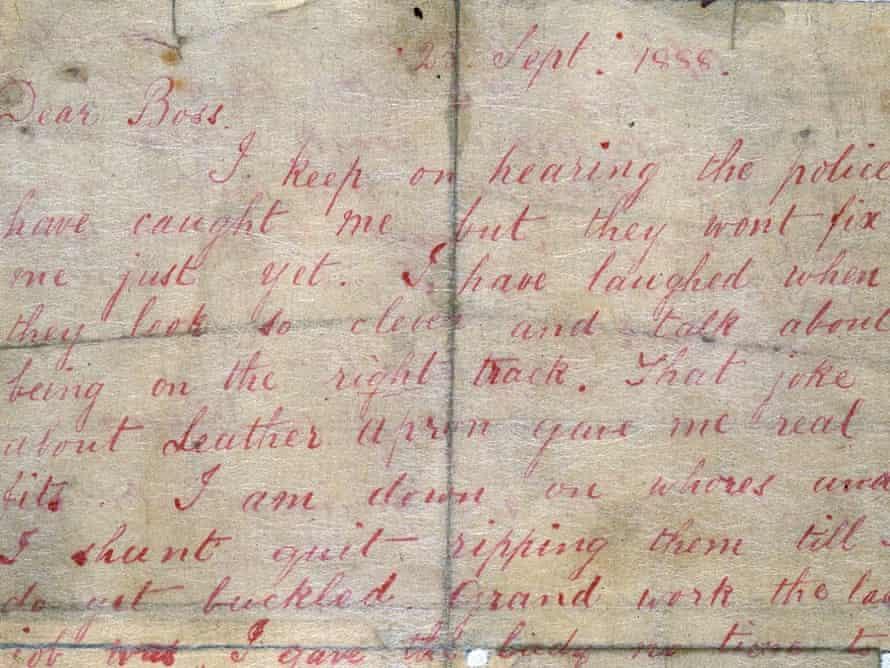 'Dear Boss'... detail from the original Ripper letter