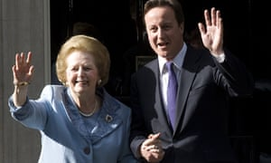 Margaret Thatcher and David Cameron at No 10