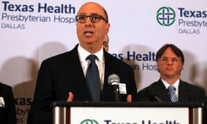 Mark Lester, southeast zone clinical leader for Texas Health Resources, speaks at a media conference in Dallas.