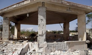Damaged buildings following the American-led coalition's airstrikes staged against the headquarters of Al-Nusra Front's snipers in Syria.