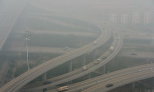 Smog shrouds Shijiazhuang on October 9, 2014 in China. Thick smog shrouded areas of North China on Thursday, reducing visibility and bringing air pollution in the area.