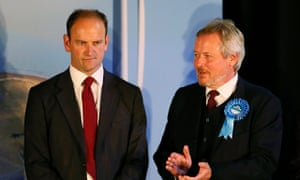 Ukip's Douglas Carswell is congratulated by the Conservative party's Clacton candidate Giles Watling