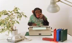 A monkey at a typewriter