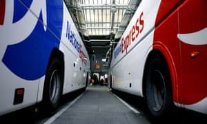 Two National Express coaches at the Victoria Coach Station in London. Photo: Newscast/Alarmy