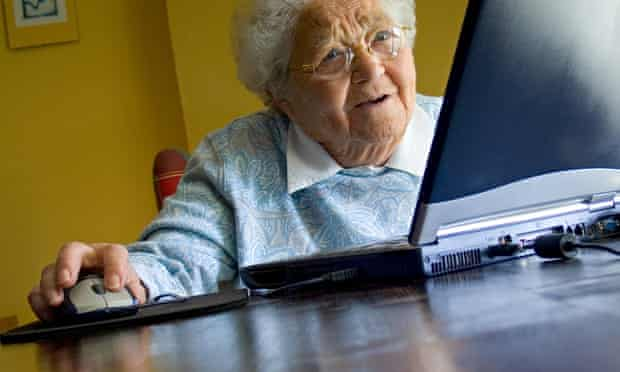 Elderly lady using her laptop computer