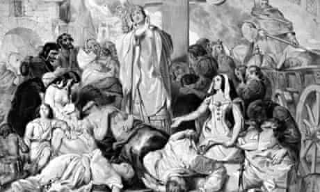 Praying for relief from the bubonic plague or Black Death