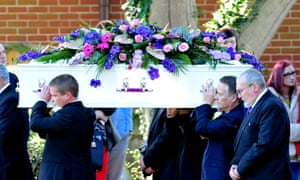 The coffin arrives for the funeral of murder victim Hannah Witheridge.