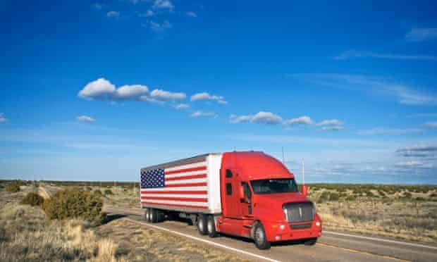 lorry with us flag in desert