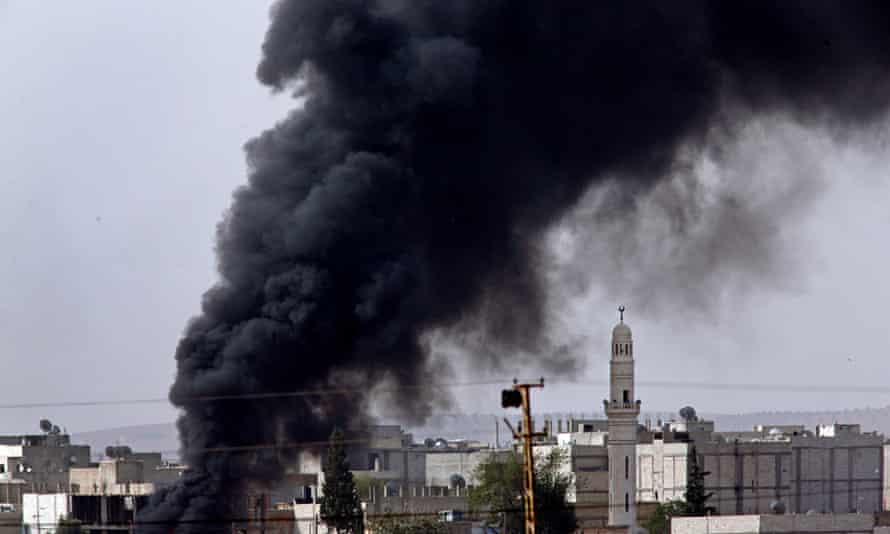 Smoke over Kobani in Syria