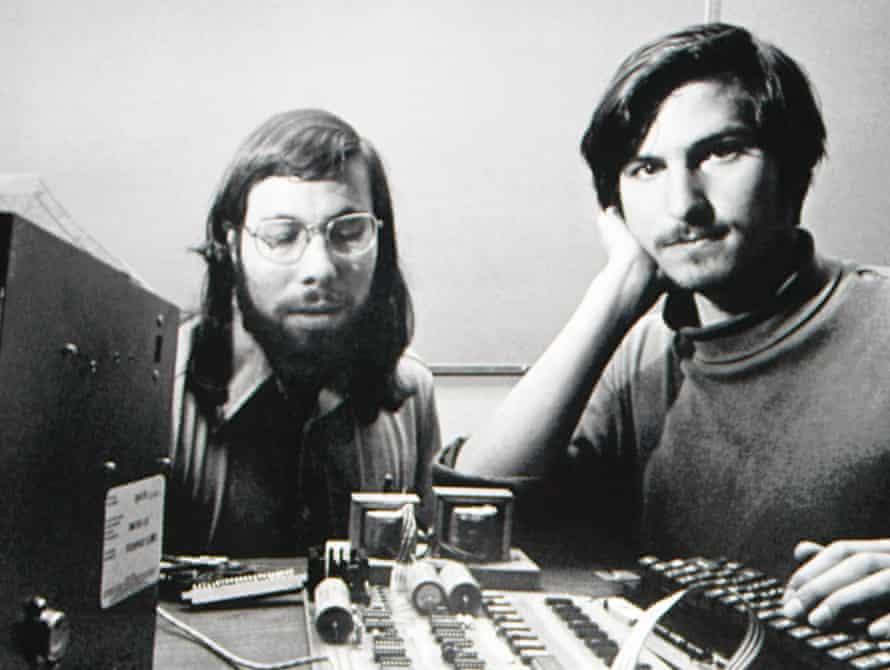 Steve Wozniak, left, with Steve Jobs during the early days of Apple.