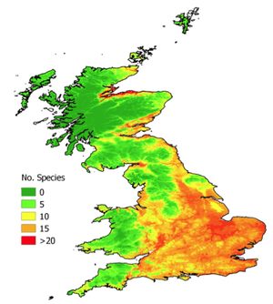 Heat map showing the cumulative probability of presence of 23 Ponto-Caspian species