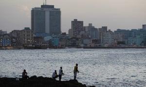 Fishermen cast their lines along the Malecon in Havana, Cuba.