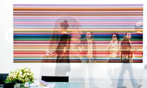 Gerhard Richter's Strip (CR921-1), 2011,sold for £1.5m at Marian Goodman Gallery. (Triple exposure of visitors in front of the art work.)