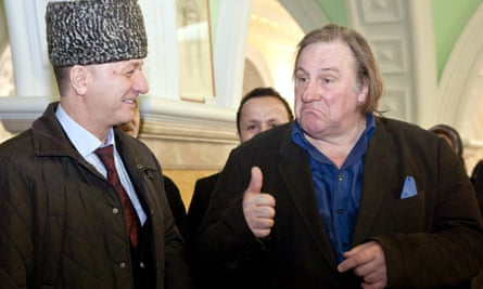 Chechnya's culture minister Dikal Muzakayev with Gerard Depardieu in the Chechen capital Grozny in 2013.