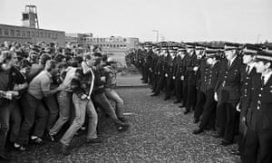 Miners and police confront each other during the strike, 1984.