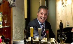 Nigel Farage in a pub