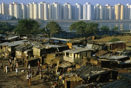 Poverty and wealth side by side in Bombay, India.