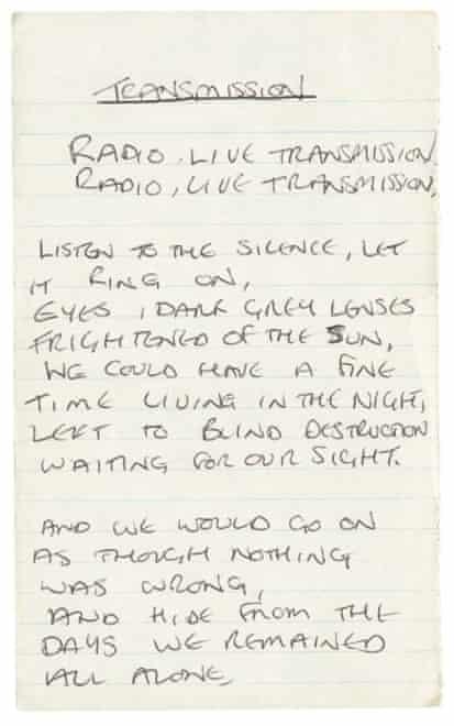Lyrics for Joy Division's 1979 single Transmission