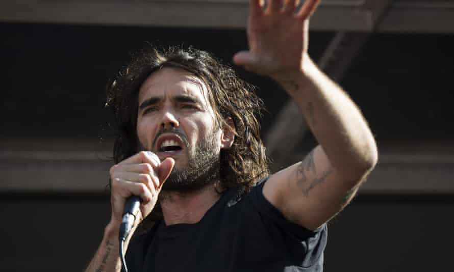 Russell Brand speaks at an anti-austerity rally in London.