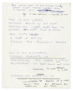 Draft lyrics written on scrap paper