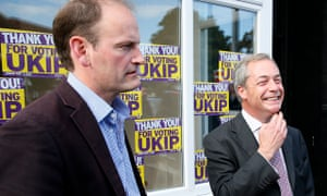 Douglas Carswell and Nigel Farage celebrating Ukip's victory in the Clacton byelection. Photograph:
