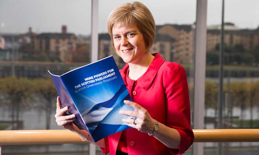 Scotland's deputy first minister, Nicola Sturgeon, with the government's proposals on devolution
