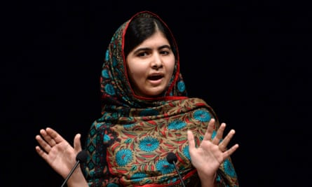 Malala Yousafzai delivers a statement after winning the Nobel Peace Prize in Birmingham library. She won the prize jointly with children's rights activist Kailash Satyarthi of India