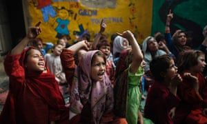 Children, displaced by fighting, in an Islamabad school. The Taliban is just one of many obstacles Pakistani girls face. Others include poverty, harassment and the government's failure to prioritise education. Both sexes suffer but girls have lower rates of literacy and school attendance (AP Photo/Nathalie Bardou)