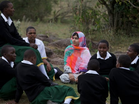 Malala Yousafzai sharing stories with Kenyan schoolgirls on her first visit to Africa in July this year.