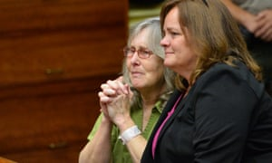 Susan Mellen, left, sits with her attorney Deirdre O'Connor, as she is exonerated of murder.