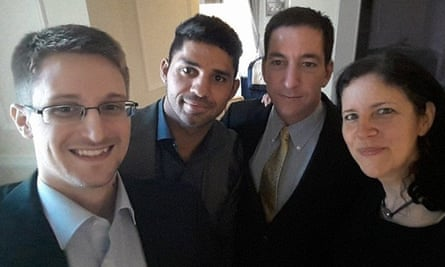 Edward Snowden, left, with Greenwald, second from right,  David Miranda and Laura Poitras.
