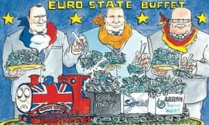 Cartoon by David Simonds: European state railways have jumped on the British gravy train.
