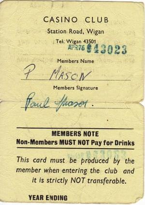 Paul Mason membership card wigan casino