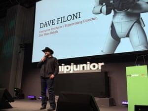 Star Wars Rebels showrunner Dave Filoni speaking at MIPJunior.