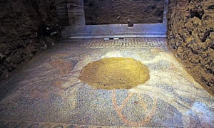 The mosaic found at the mysterious Alexander The Great-era tomb near Amphipolis in the Macedonian region of northern Greece.