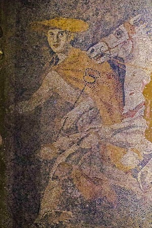 The ancient Greek god Hermes is depicted in a mosaic as the conductor of souls to the afterlife. Archaeologists digging through an ancient grave at Amphipolis, northern Greece, uncovered the 3-by-4.5 meter (10-by-15 ft.) mosaic in what is likely the antechamber to the main burial room.