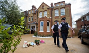 Police outside the London home of Tania Clarence, where her three dead children were found