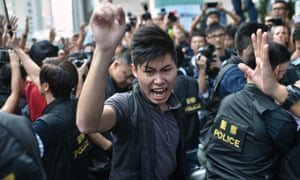Pro-democracy protesters crowd in the Admiralty district of Hong Kong.